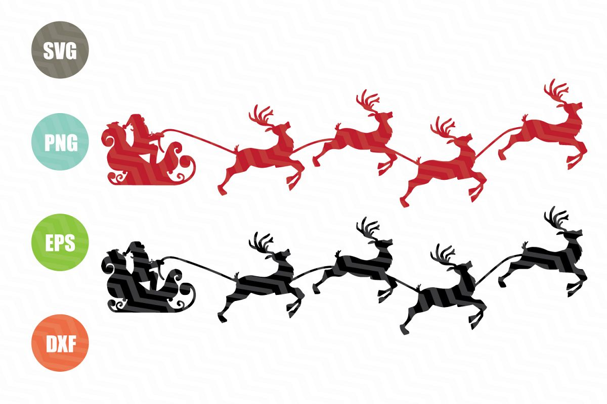 Santa Claus With Reindeer SVG example image 1