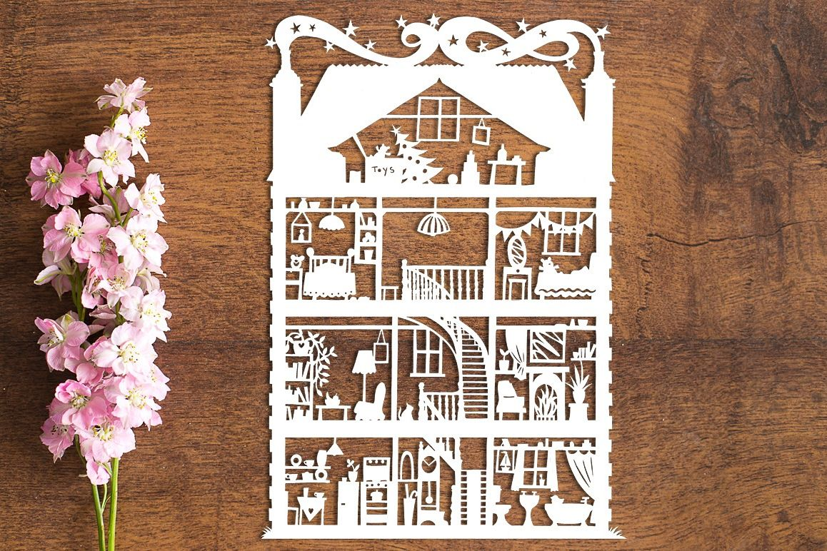 Doll's House - Paper Cutting Template example image 1