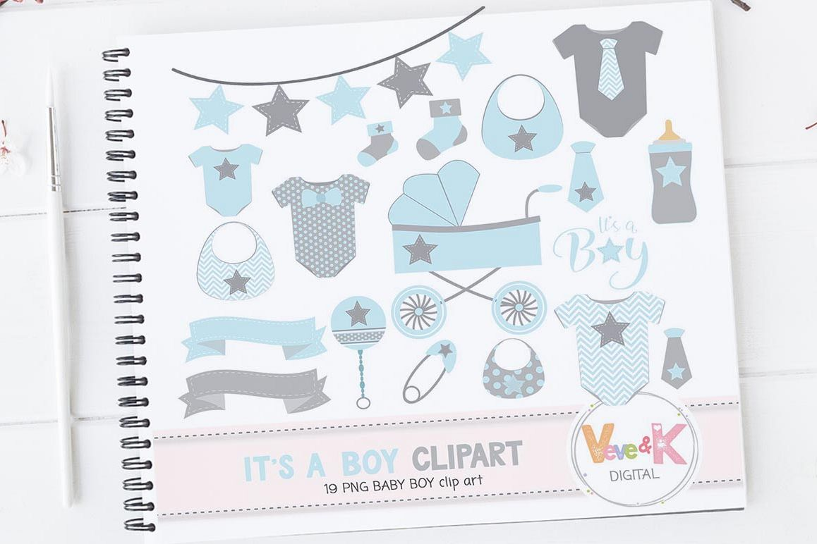 Baby Clip Art, Baby Boy Clipart, Baby Boyl Baby Shower DIY, It's a Boy, Blue and Gray Baby Shower, Baby Shower Clipart example image 1