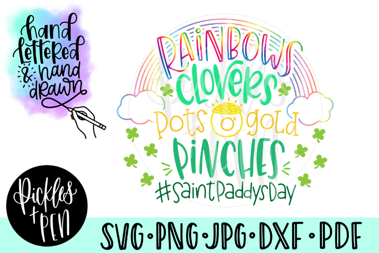 Kids St Patrick's Day SVG - Rainbows Clovers example image 1