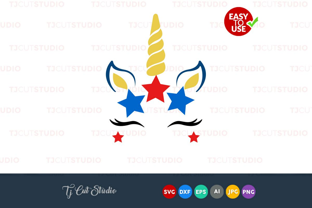 Unicorn head svg, unicorn face svg, 4th of July svg, Files for Silhouette  Cameo or Cricut, Commercial & Personal Use