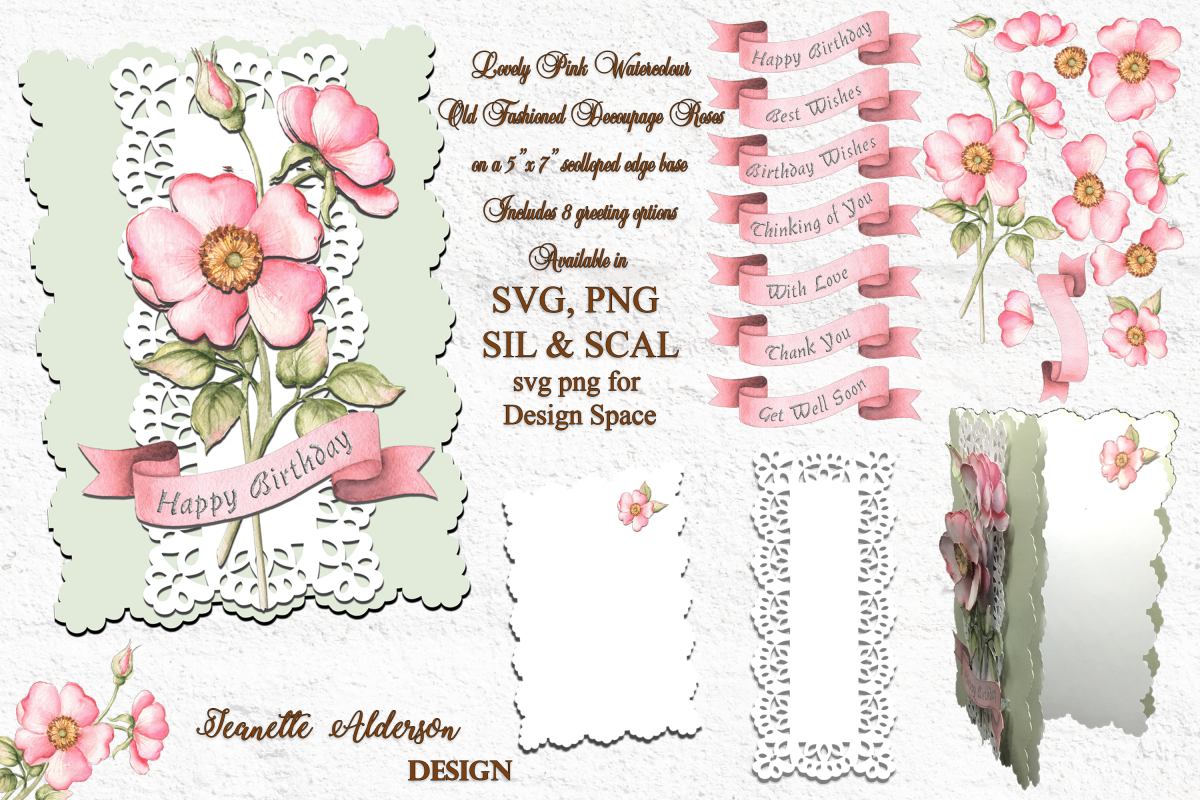 Rose digital SVG PNG print and cut decoupage cutting file