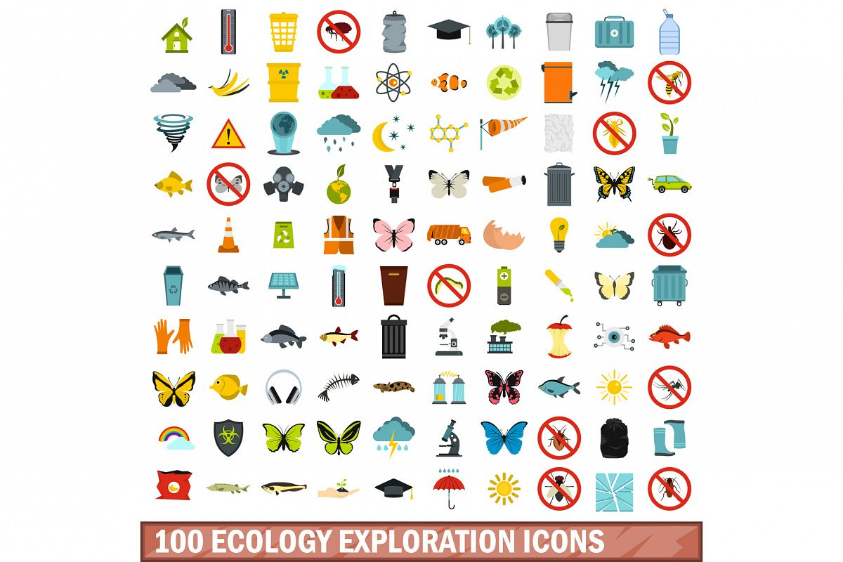 100 ecology exploration icons set, flat style example image 1