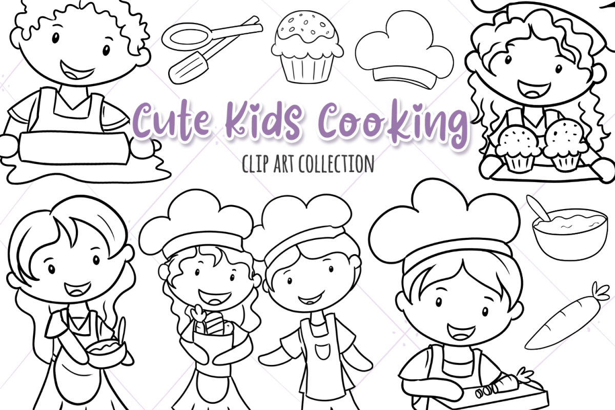 Cute Kids Cooking Digital Stamps example image 1