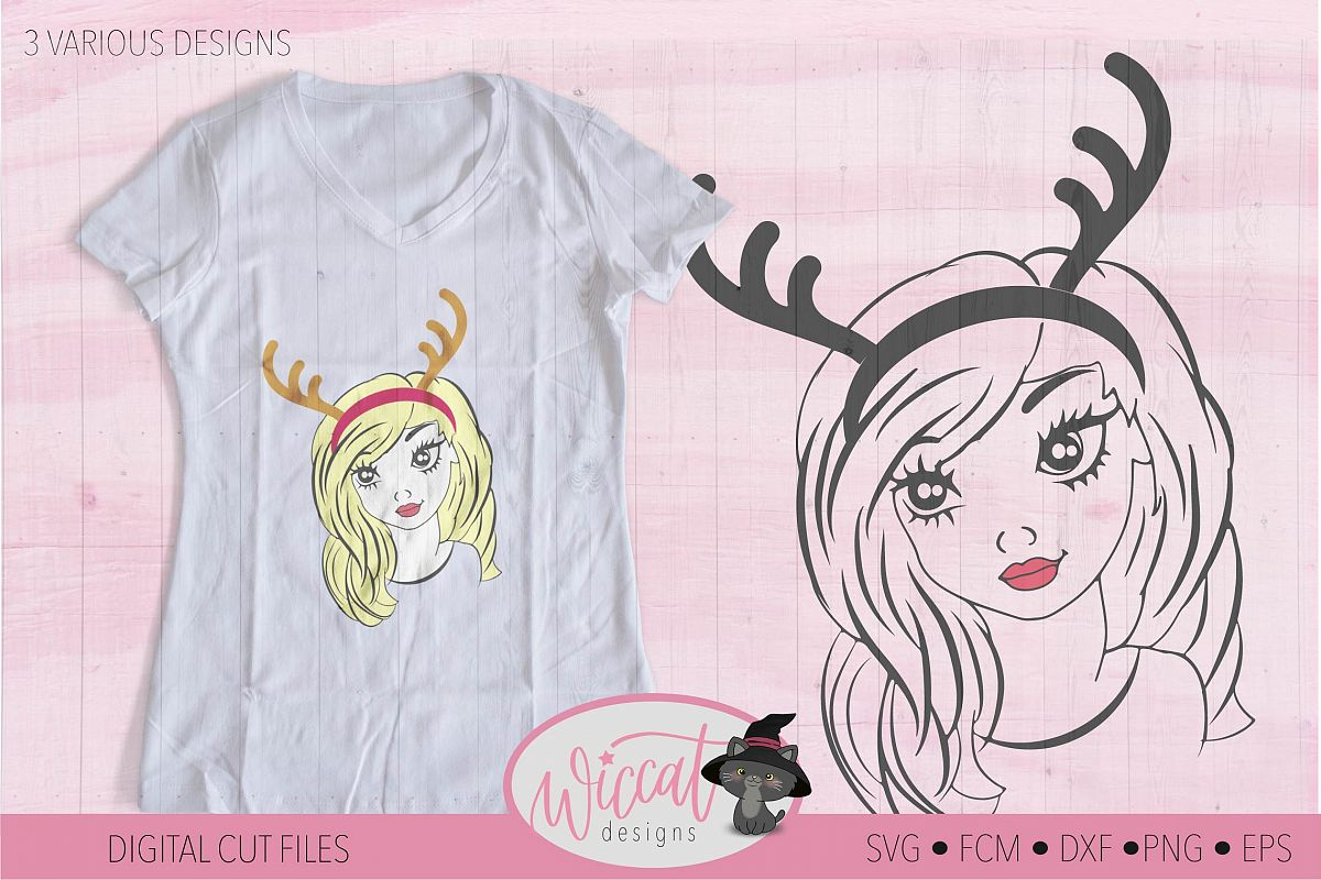 Reindeer girl svg, teen svg, Antlers svg, Christmas, girl example image 1