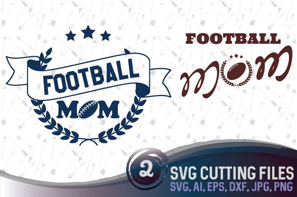 Football mom - 2 designs - SVG, EPS, PNG, JPG, DXF, AI example image 1