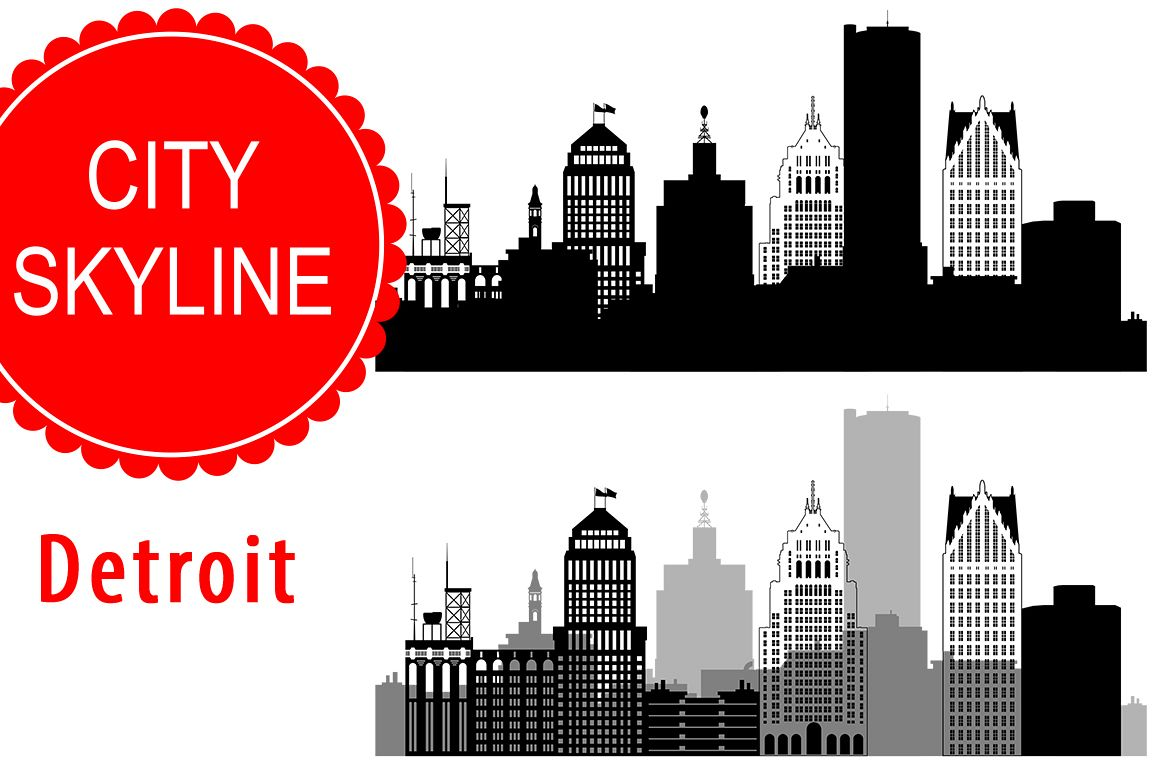 Detroit  Vector, Michigan Skyline USA city, SVG, JPG, PNG, DWG, CDR, EPS, AI example image 1