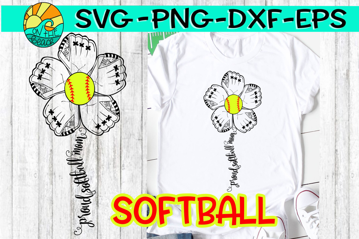 Softball Mom - Flower Mitt - SVG - DXF - EPS - PNG example image 1