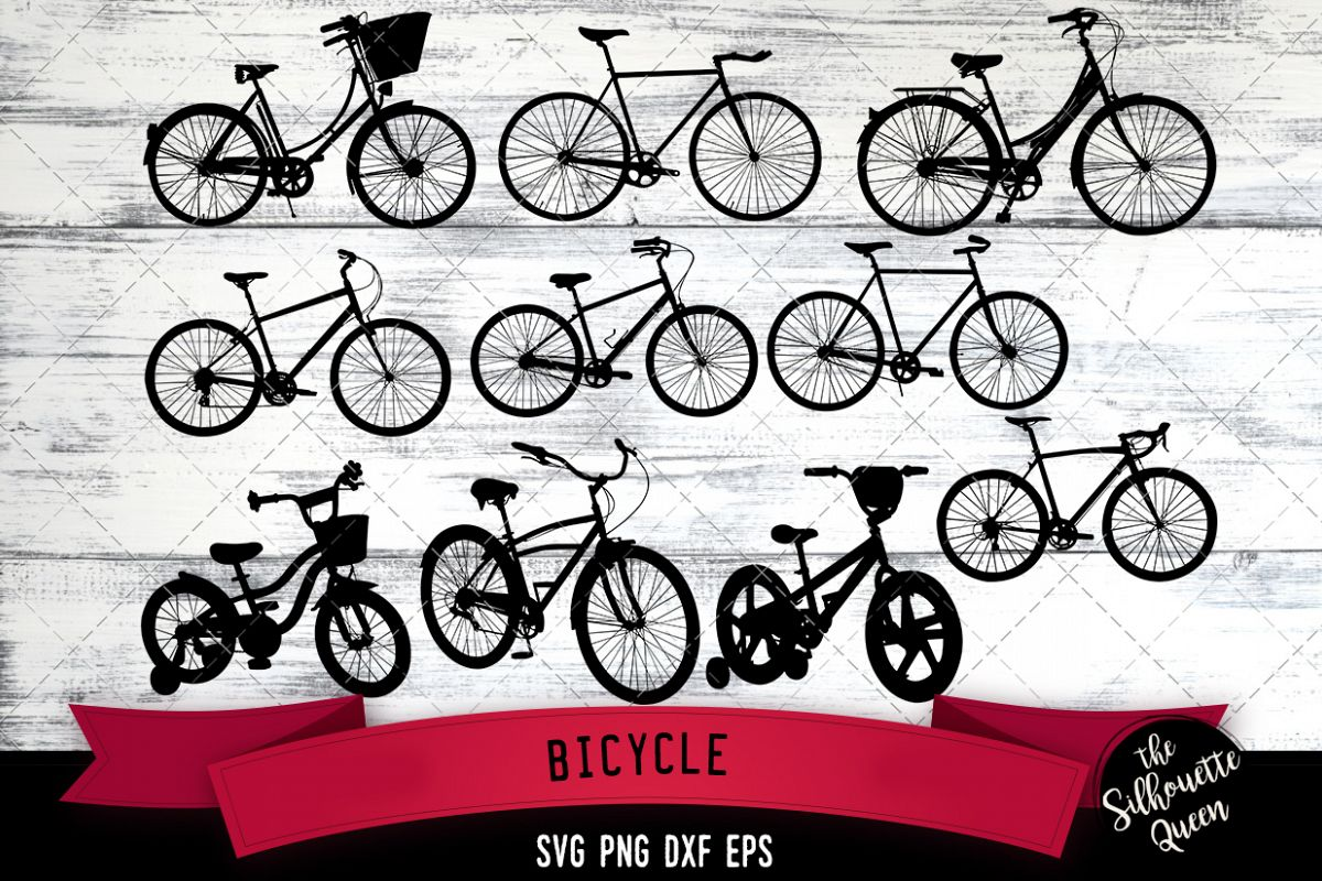 Bicycle svg file, svg cut file, silhouette studio, example image 1