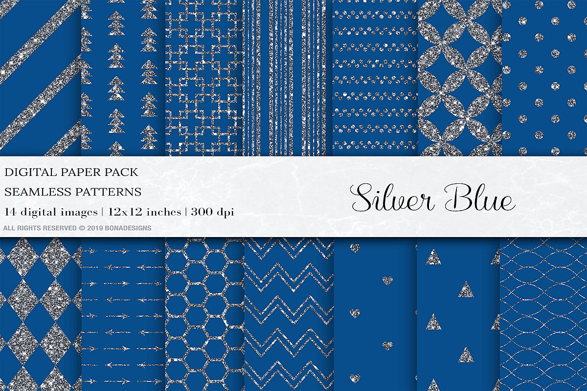 Blue Silver Digital Papers, Silver Patterns example image 1