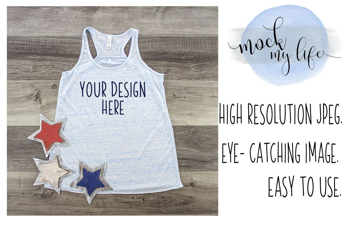 MockUp Bella Canvas Shirt / Patriotic Flat Lay / Blue Marble example image 1