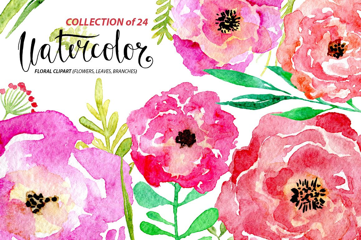 Watercolor flower set, 24 png elements example image 1