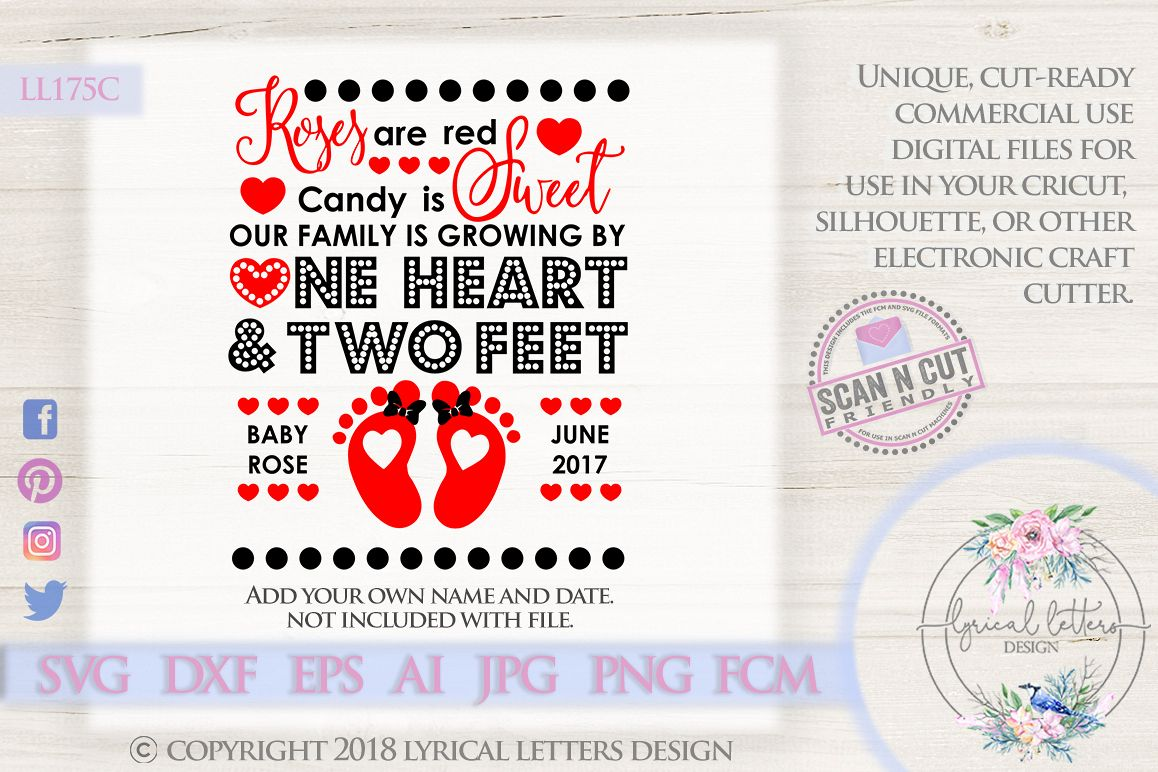 Valentine's Day Pregnancy Announcement SVG DXF LL175C example image 1