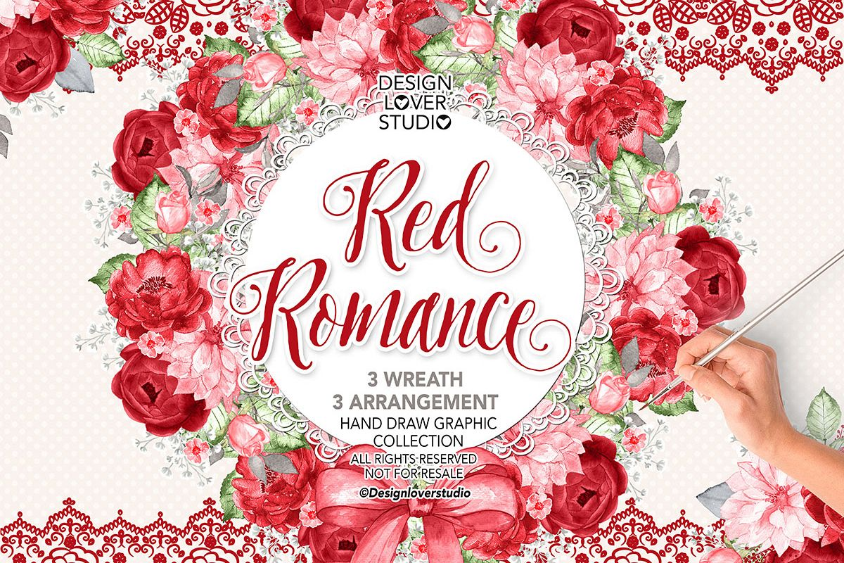 Watercolor RED ROMANCE design example image 1