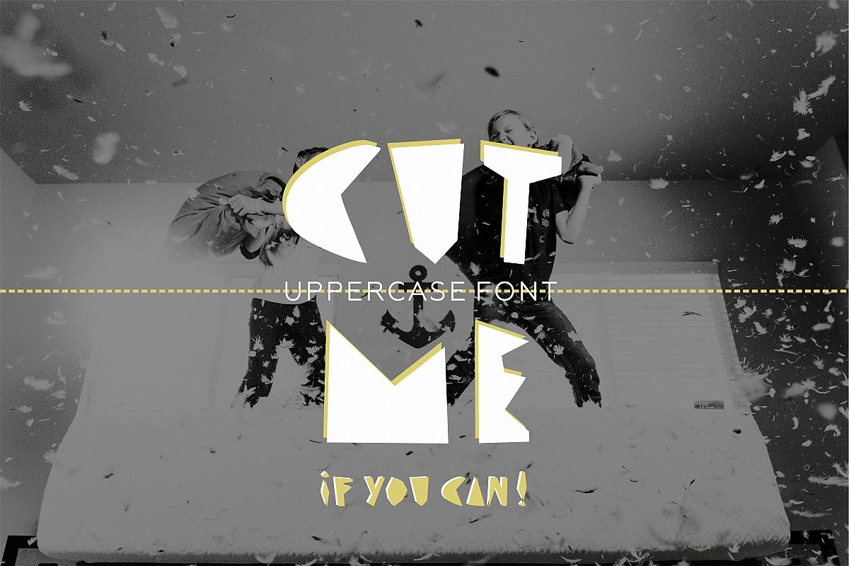 CUT ME if you can Uppercase fun font example image 1