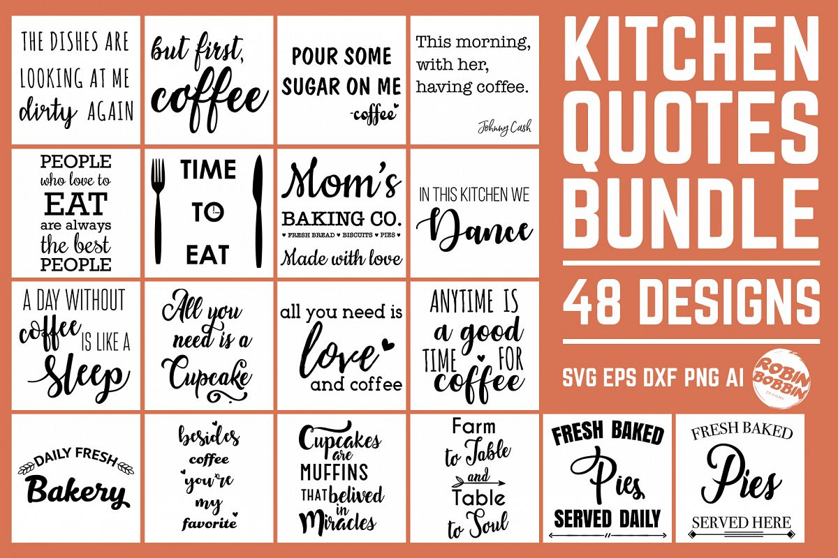 Kitchen Quotes SVG Bundle 48 Designs, Kitchen Sign SVG Files example image 1