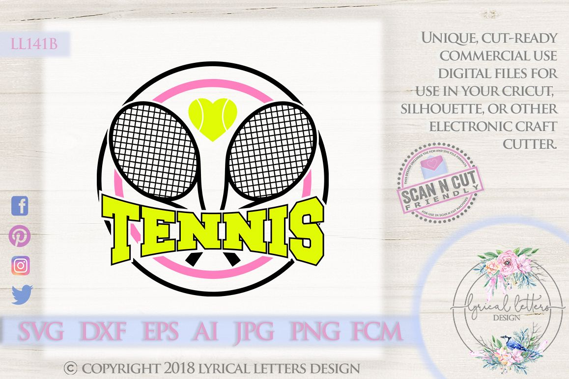 Tennis with Racquets and Heart Sports SVG DXF FCM LL141B example image 1