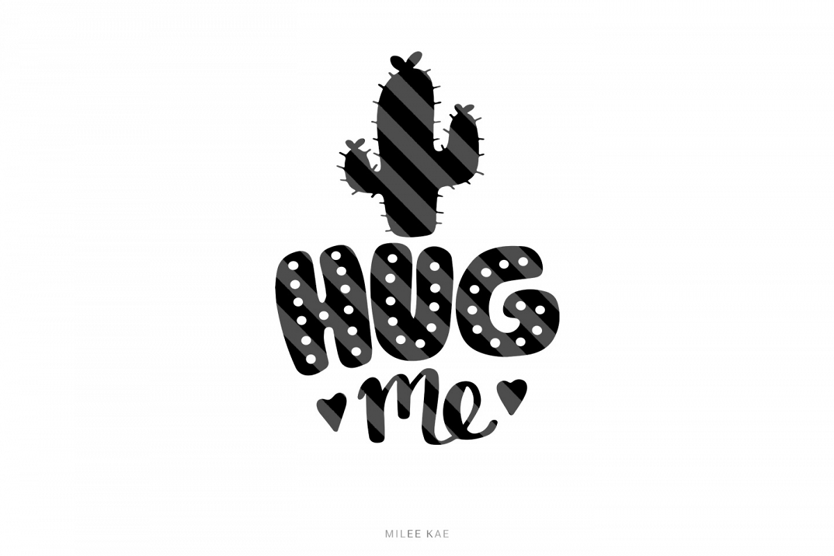 Hug me cactus SVG, Cutting file, Decal example image 1