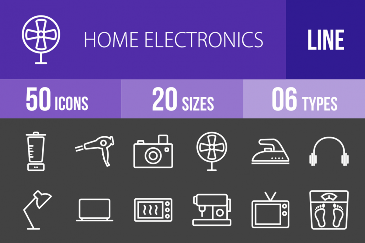 50 Home Electronics Line Inverted Icons example image 1