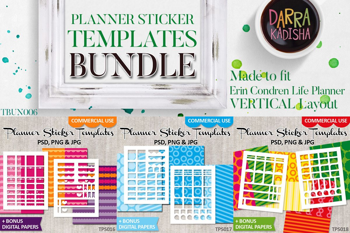 Templates Bundle Vol. 6 - Planner stickers Digital DIY Kit example image 1