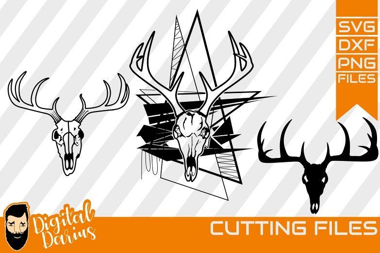 3x Deer Hunt SVG, Deer Head Svg, deer horns dxf, Circuit example image 1
