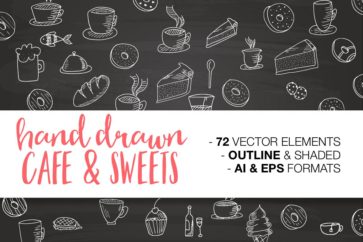 Hand drawn CAFE & SWEETS example image 1