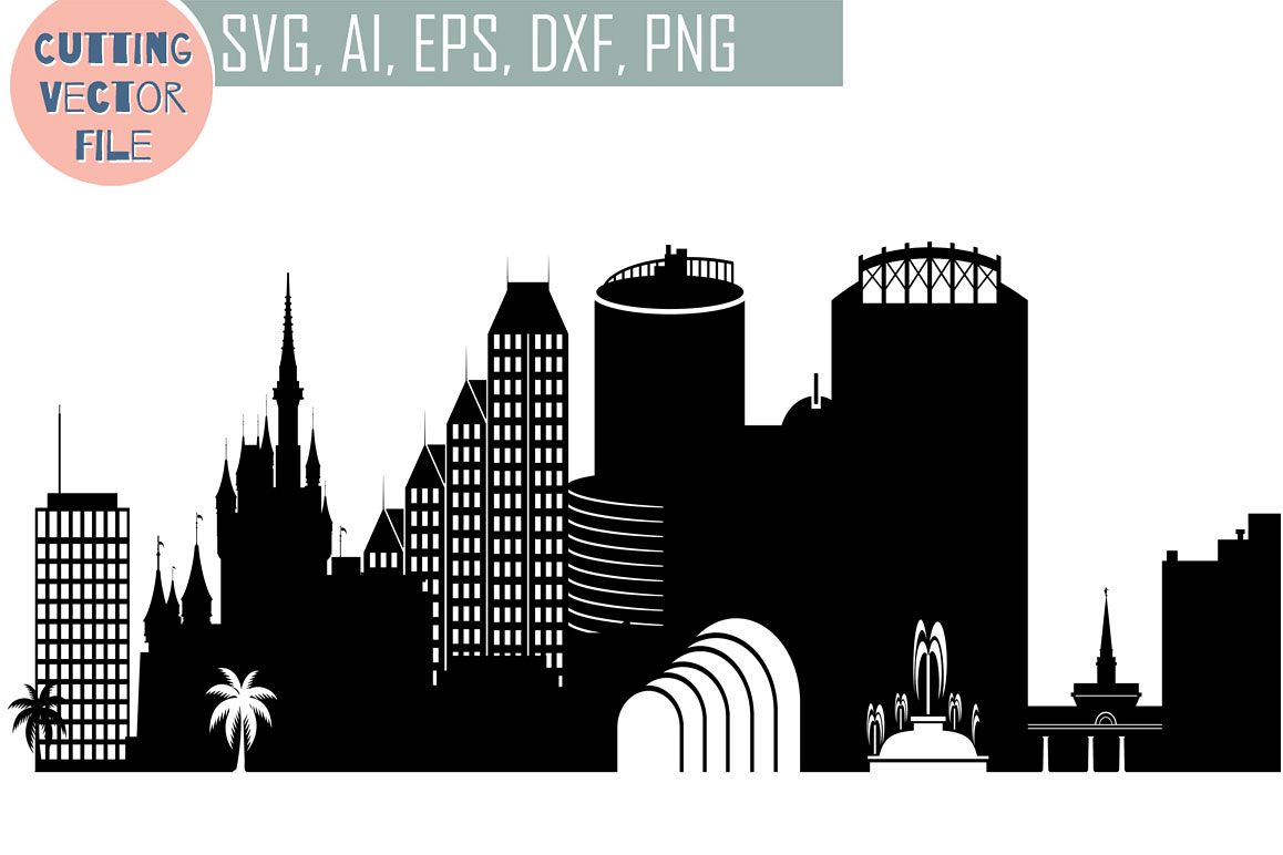 Orlando Skyline Vector, Florida USA city, SVG, JPG, PNG, DWG, CDR, EPS, AI example image 1