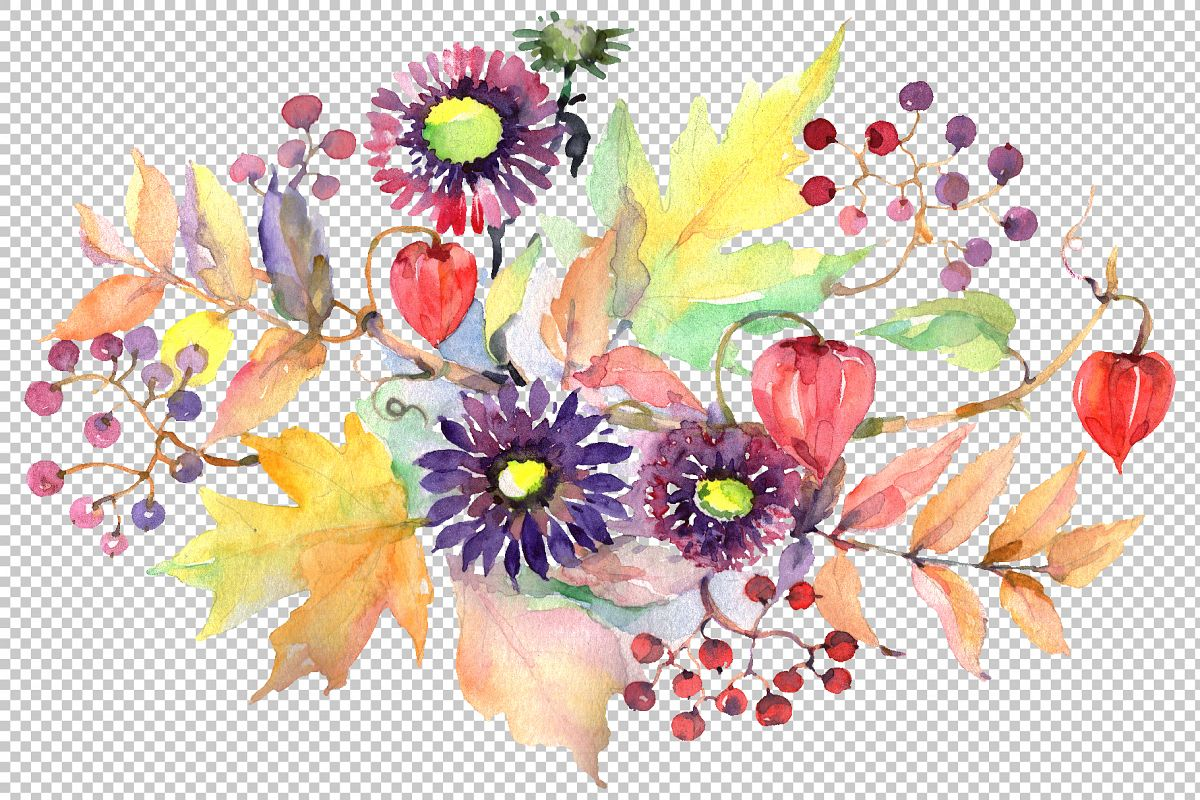 Autumn Bouquet with asters and physalis Watercolor png example image 1