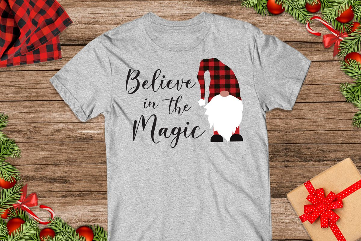 Believe in Magic, Gnome Buffalo Plaid Svg example image 1