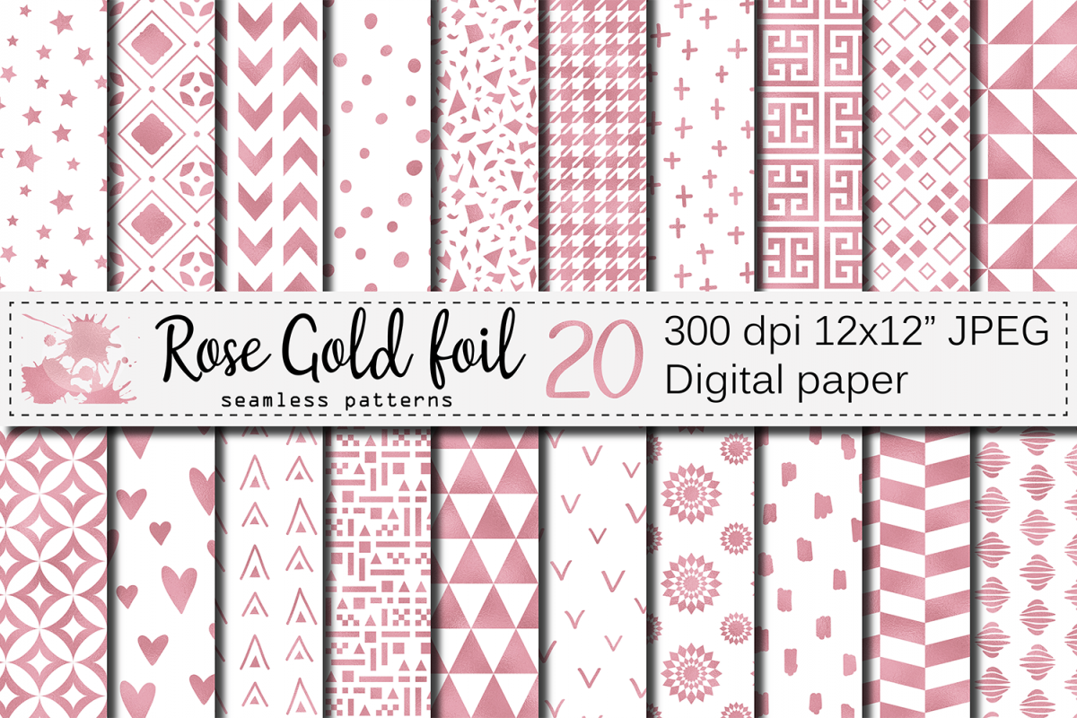 Rose gold foil seamless geometric patterns, digital papers example image 1