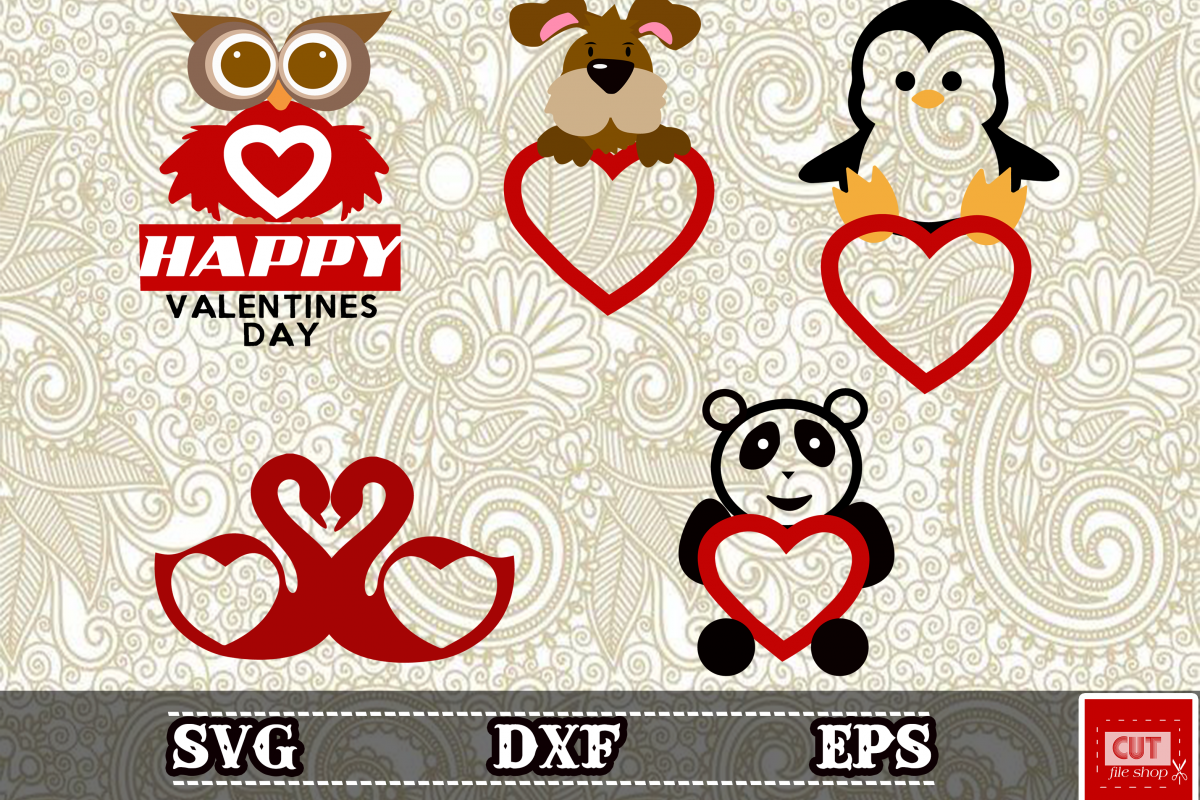 Animals San Valentines Day Monogram Svg Panda Dog Penguin Bird For