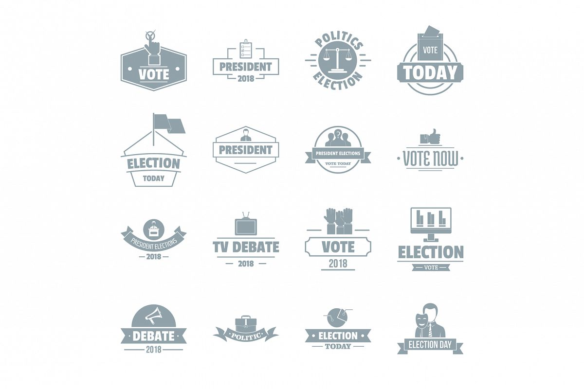 Election voting logo icons set, simple style example image 1