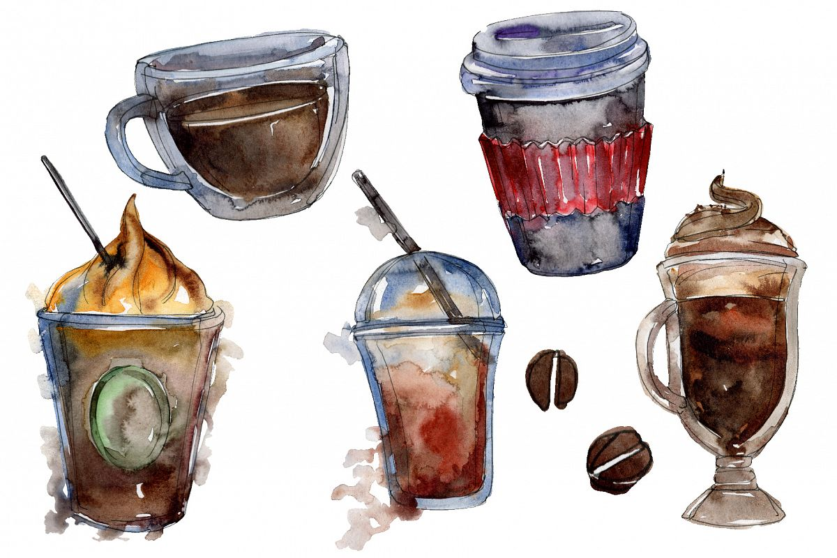 Drinks Coffee Watercolor png example image 1