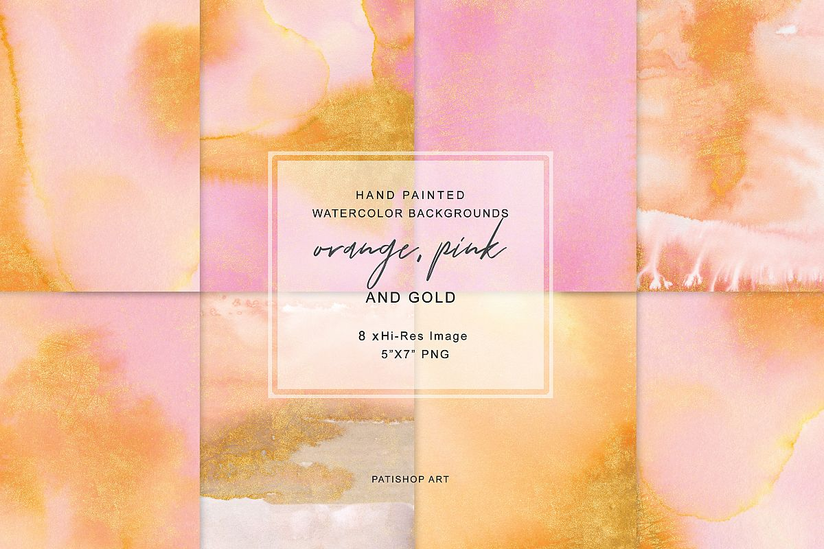 Watercolor Glittered Orange & Pink Background 5x7 example image 1