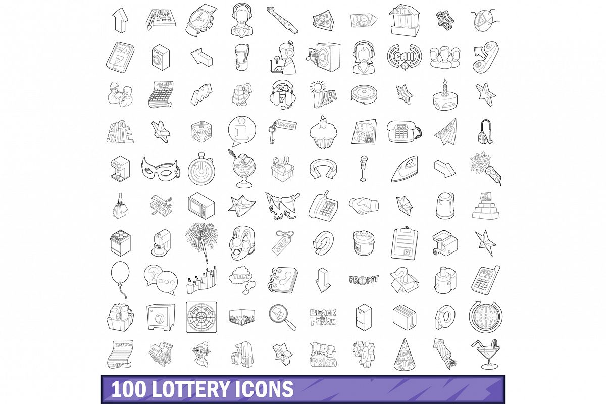 100 lottery icons set, outline style example image 1