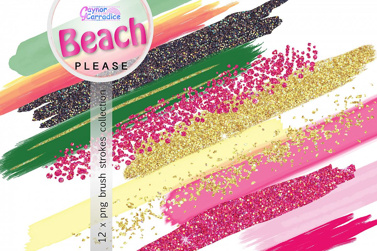Beach Please brush strokes collection example image 1