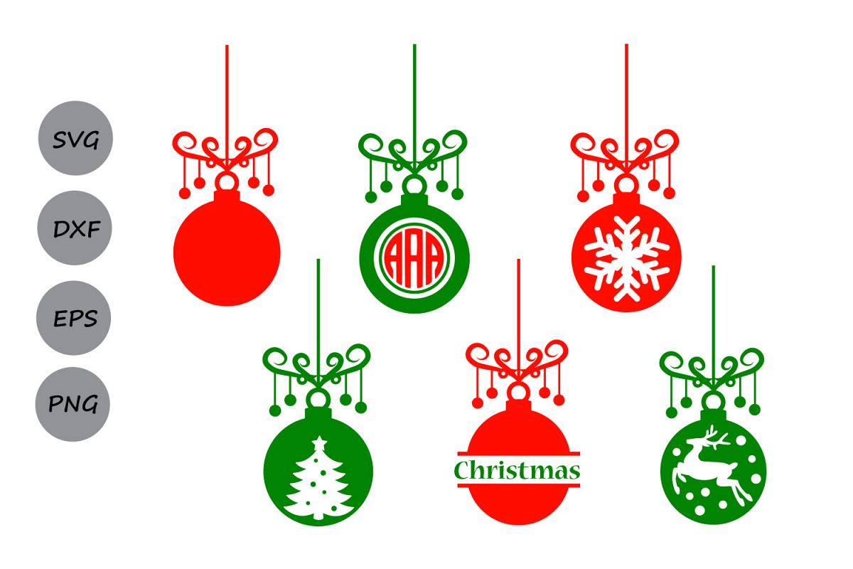 Merry Christmas Ornament Svg.Christmas Ornament Svg Ornament Monogram Tree Ornament Christmas Svg Christmas Ornament Silhouette Cricut Files Svg Dxf Eps Png