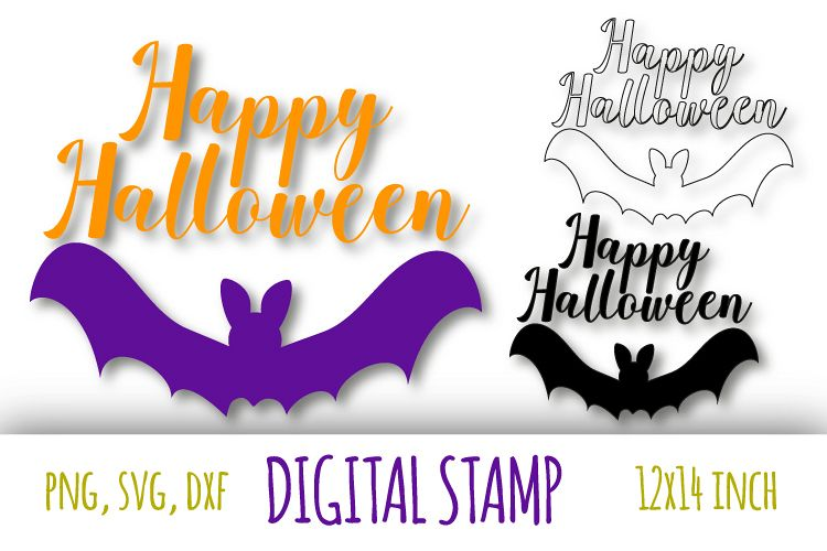 Happy Halloween svg. Bat silhouette cut files example image 1