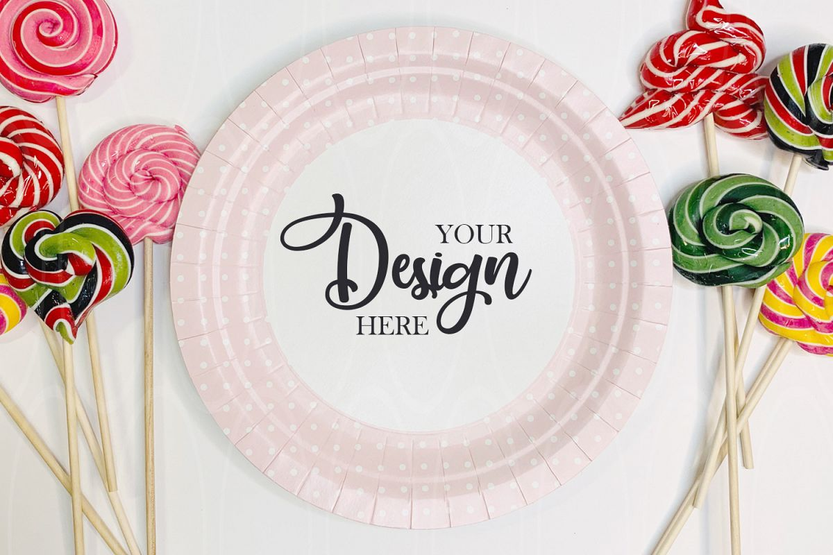 Paper plate mockup Candies Styled Stock Photo Product example image 1