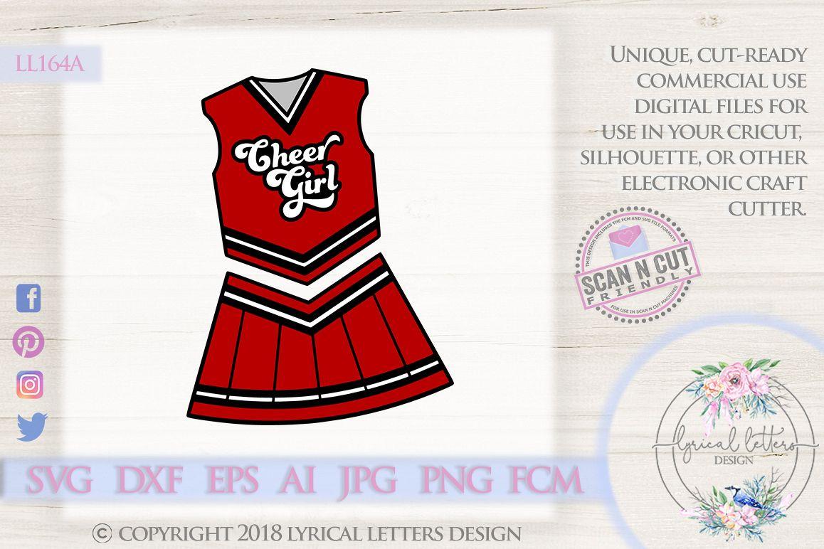Cheerleader Uniform Cheer Girl SVG DXF Cut File LL164A example image 1