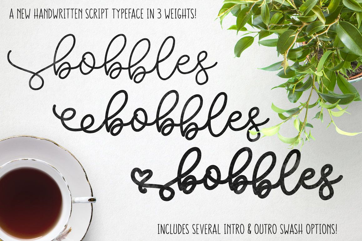 Bobbles header - script font in 3 weights