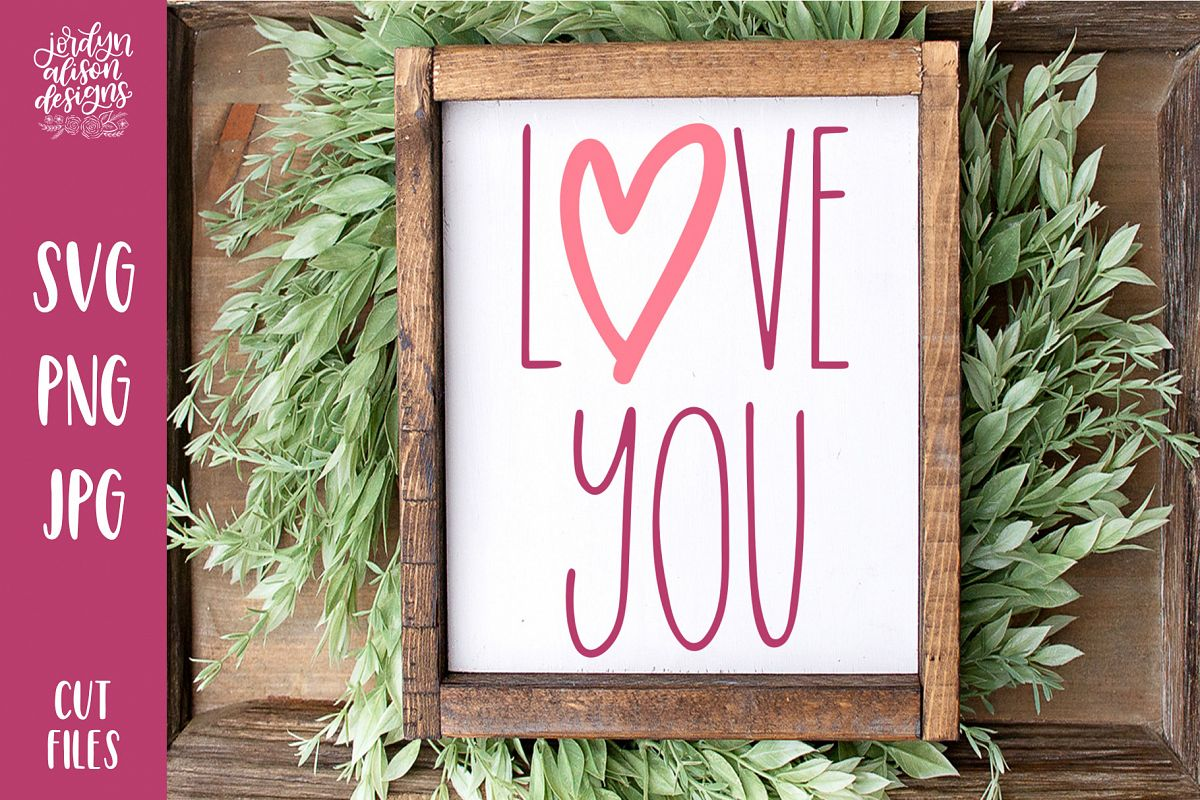 Love You, Skinny Valentine's SVG Cut File example image 1