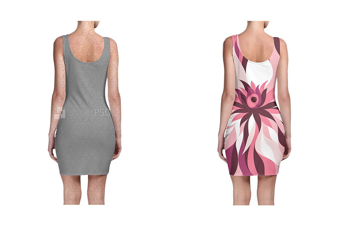 Bodycon Dress Design Mockup for Sublimation Preview - 2 Views example image 1