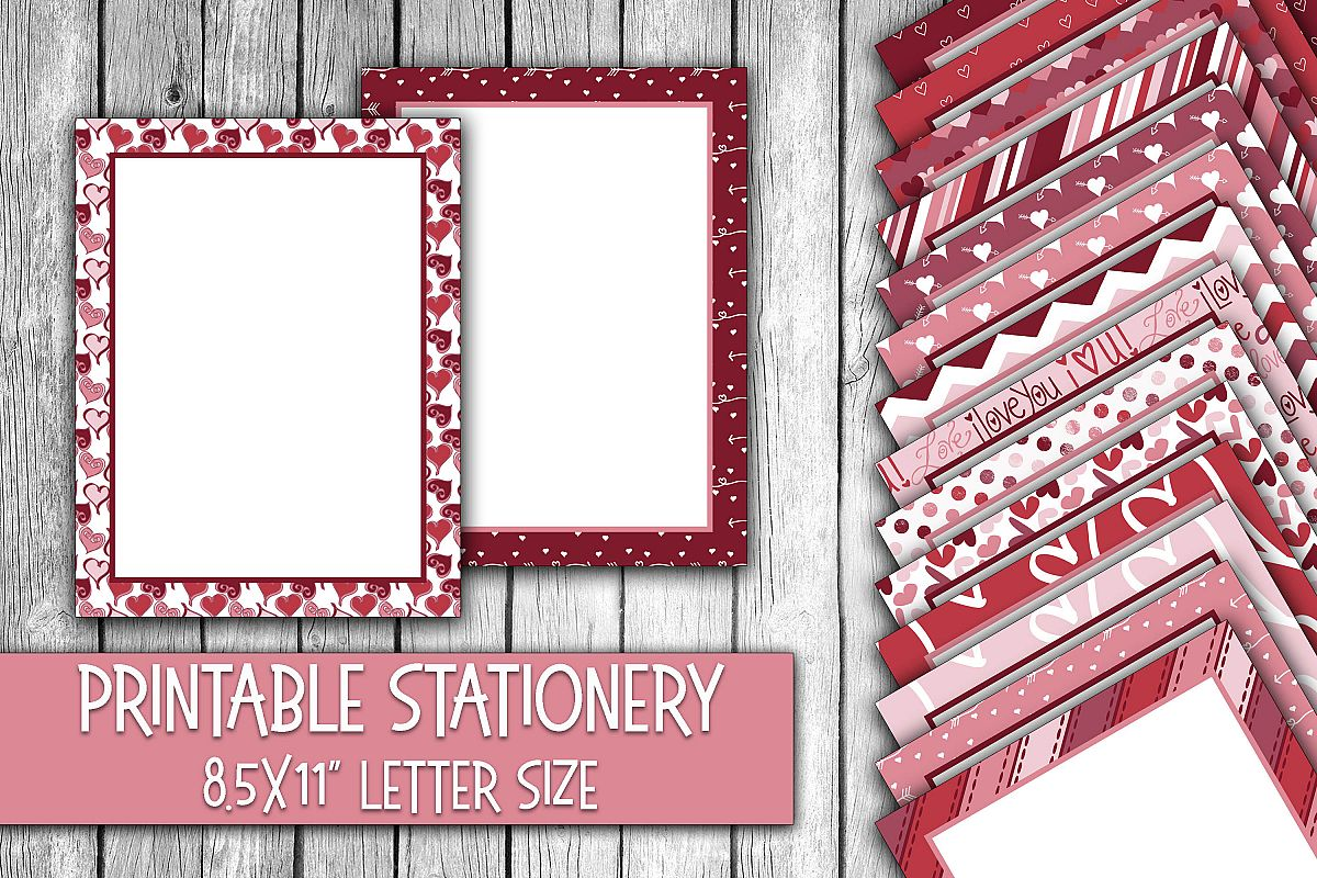 Valentine's Day Stationery - Cute Valentine Digital Paper example image 1