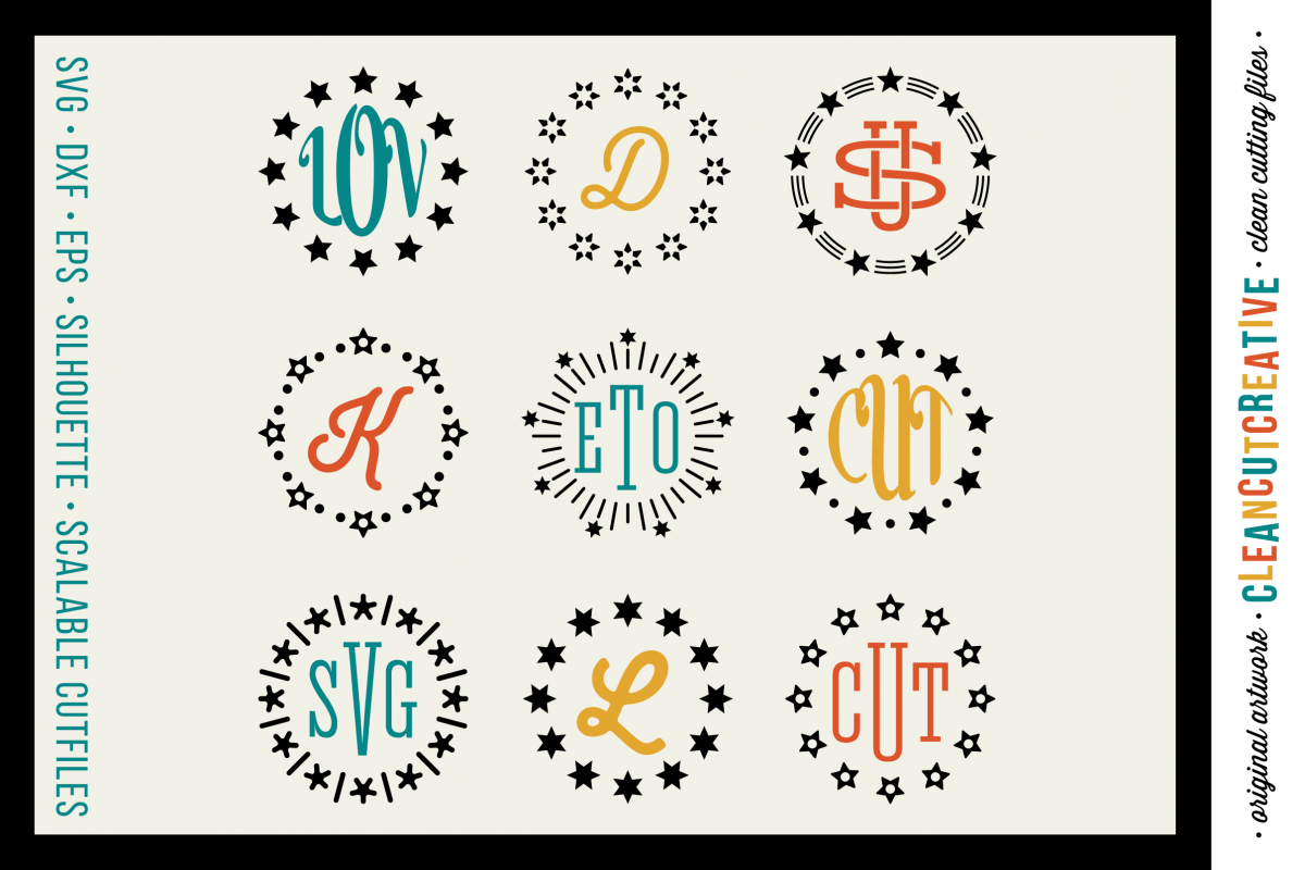 Circle Monogram Star Frames - SVG DXF EPS - for Cricut and Silhouette Cameo - clean cutting digital files example image 1
