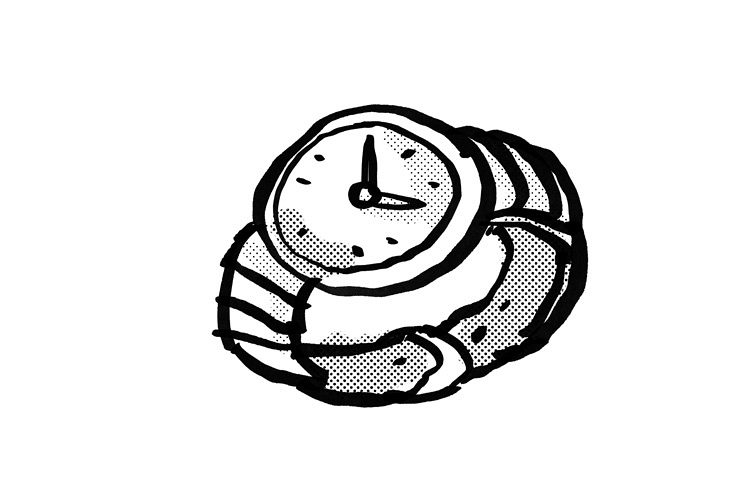 Vintage Wristwatch Cartoon Drawing example image 1