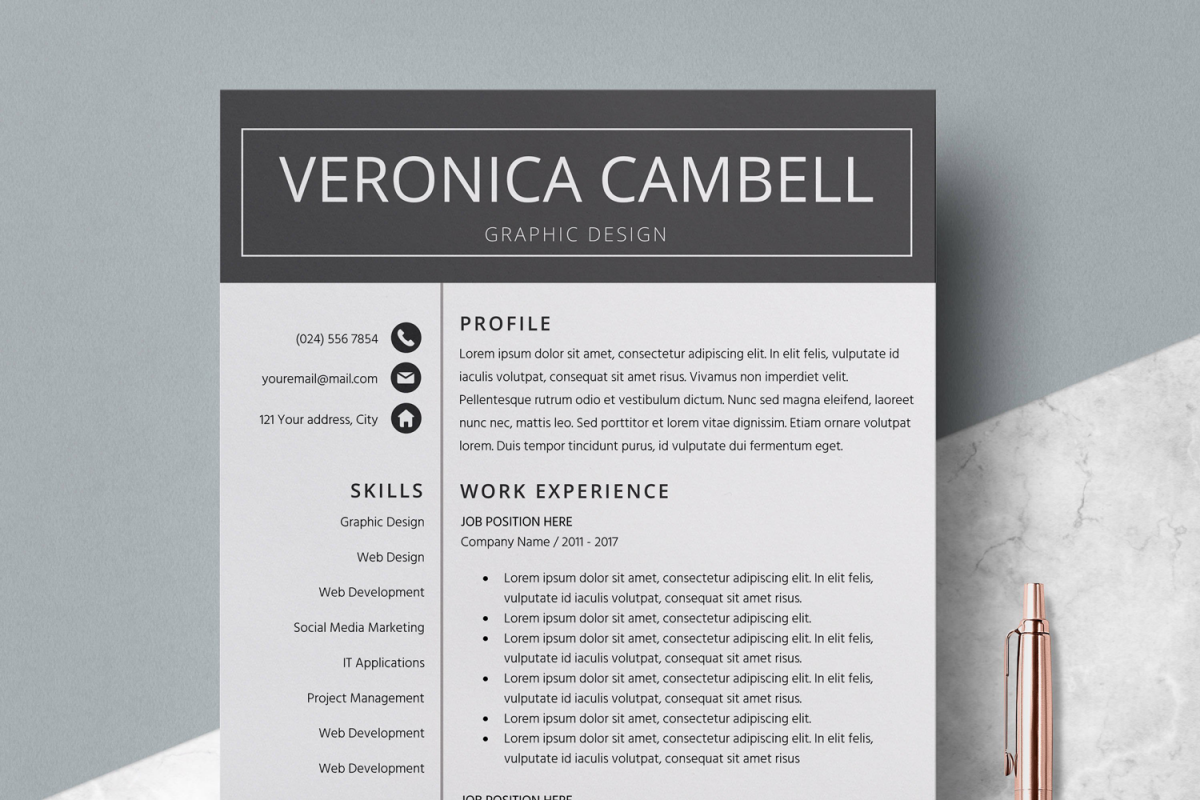 resume cv template cover letter veronica cambell example image 1
