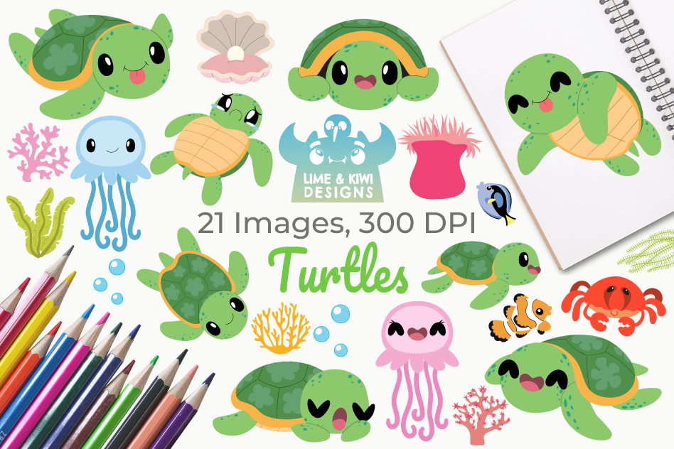Turtles Clipart, Instant Download Vector Art, Commercial Use example image 1
