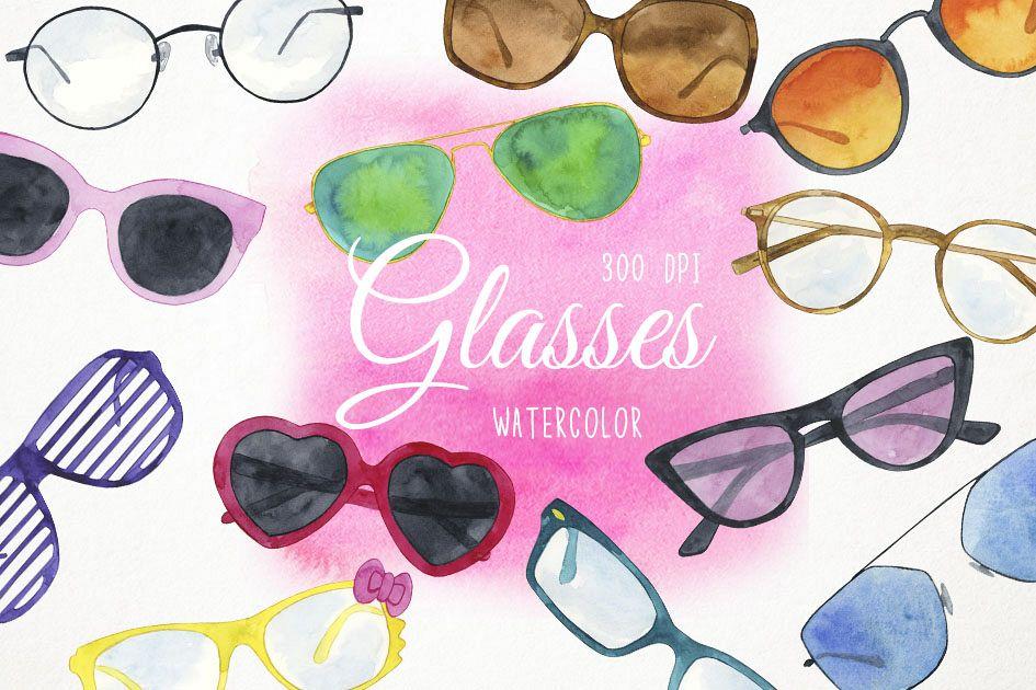 d8b3740121c Watercolor Glasses Clipart, Watercolor Sunglasses Clipart example image 1