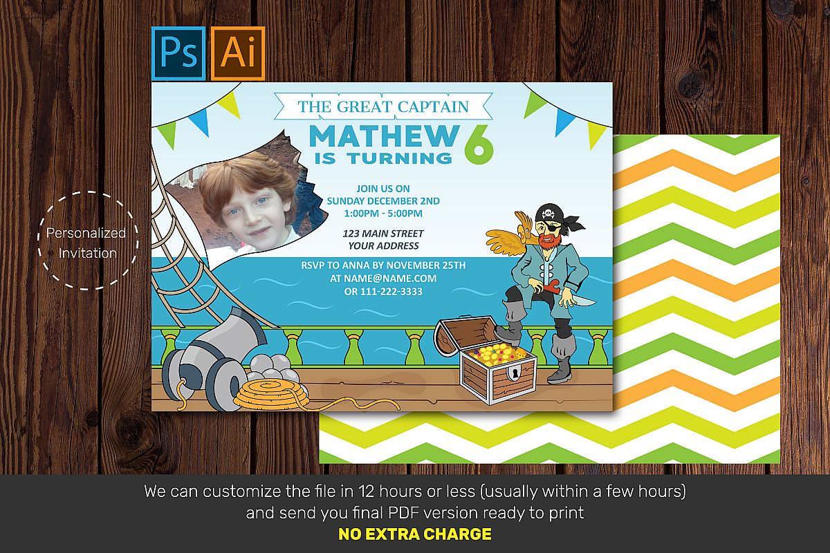 Pirate Birthday Card Birthday Invitation Card